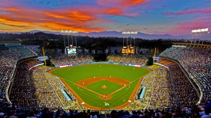 Dodger Stadium at sunset