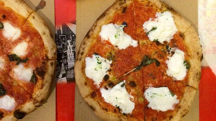Margherita pizzas at Olio GCM Wood Fired Pizzeria